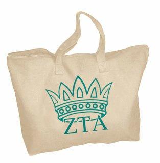 Zeta Tau Alpha Mascot Zippered Tote Bag
