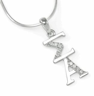 Sigma Alpha Sterling Silver Lavaliere with lab created diamonds