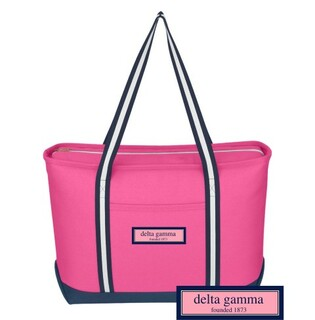 DISCOUNT-Delta Gamma Preppy Sorority Large Canvas Tote
