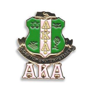 Alpha Kappa Alpha 3D Color Shield w Letters Pins