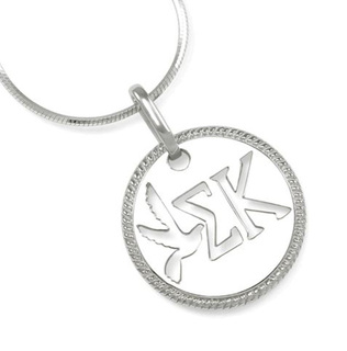 Sigma Kappa Sterling Silver Circular Pendant with Cut-out Dove and Letters