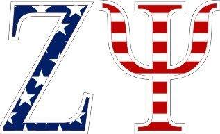 """Zeta Psi American Flag Greek Letter Sticker - 2.5"""" Tall"""
