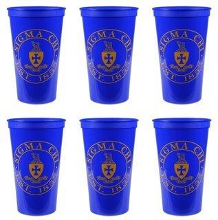 Sigma Chi Set of 6 Big Plastic Stadium Cups