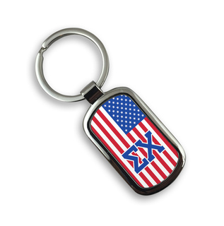 USA Flag Greek Rectangle Key Ring