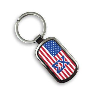 USA Flag Greek Rectangle Key Ring