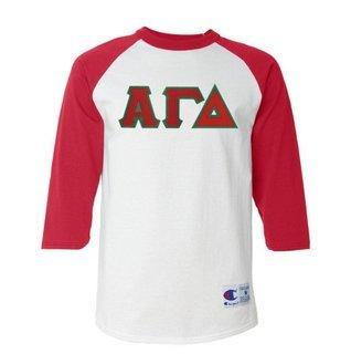DISCOUNT-Alpha Gamma Delta Lettered Raglan Shirt
