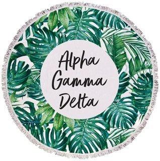 Alpha Gamma Delta Palm Leaf Fringe Towel Blanket