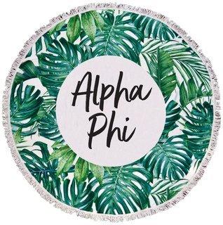 Alpha Phi Palm Leaf Fringe Towel Blanket