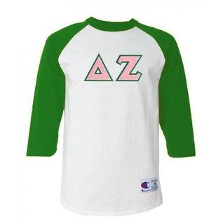 DISCOUNT-Delta Zeta Lettered Raglan Shirt