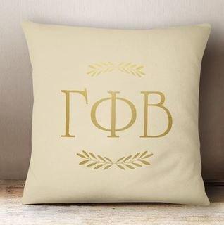 Gamma Phi Beta Foil Letters Pillow