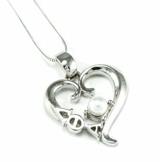 Lambda Theta Alpha Sterling Silver Heart Pendant with Pearl