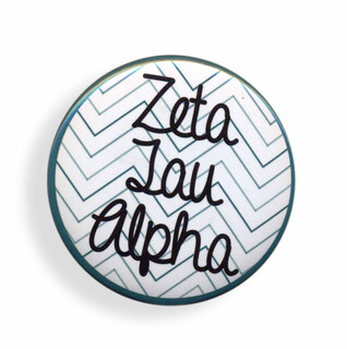 Zeta Tau Alpha Chevron Script Button