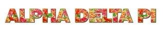 "Alpha Delta Pi Floral Long Window Sticker - 15"" long"