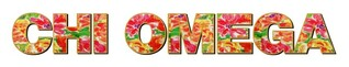 """Chi Omega Floral Long Window Sticker - 15"""" long"""