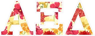 "Alpha Xi Delta Floral Greek Letter Sticker - 2.5"" Tall"