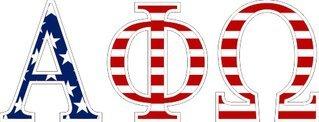 """Alpha Phi Omega American Flag Greek Letter Sticker - 2.5"""" Tall"""