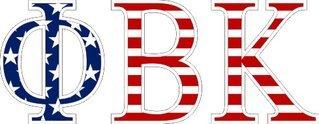 "Phi Beta Kappa American Flag Greek Letter Sticker - 2.5"" Tall"