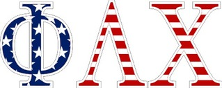 "Phi Lambda Chi American Flag Greek Letter Sticker - 2.5"" Tall"