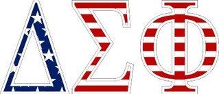 "Delta Sigma Phi American Flag Greek Letter Sticker - 2.5"" Tall"