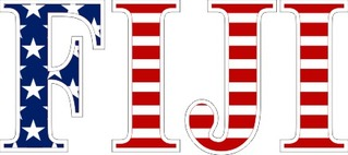 "FIJI Fraternity American Flag Greek Letter Sticker - 2.5"" Tall"