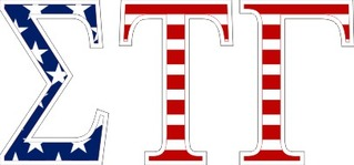 "Sigma Tau Gamma American Flag Greek Letter Sticker - 2.5"" Tall"