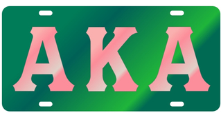 Alpha Kappa Alpha Colored Mirror Plate, Green with Pink Letters