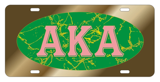 Alpha Kappa Alpha Marble Oval License Plate, Gold