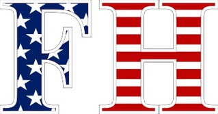 "FarmHouse Fraternity American Flag Greek Letter Sticker - 2.5"" Tall"