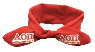Alpha Omicron Pi Knotted Cotton Headband