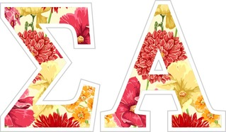 "Sigma Alpha Floral Greek Letter Sticker - 2.5"" Tall"