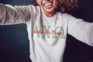 Alpha Chi Omega Greek Type Crewneck Sweatshirt