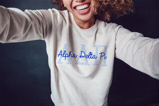 Alpha Delta Pi Greek Type Crewneck Sweatshirt