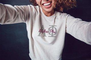 Alpha Phi Greek Type Crewneck Sweatshirt