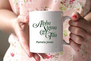 Alpha Sigma Tau White Mascot Coffee Mug