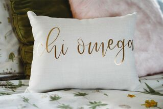 Chi Omega Gold Imprint Throw Pillow