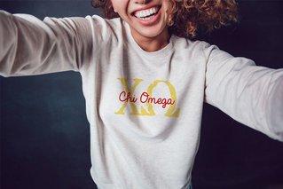 Chi Omega Greek Type Crewneck Sweatshirt