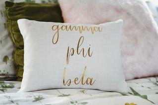 Gamma Phi Beta Gold Imprint Throw Pillow