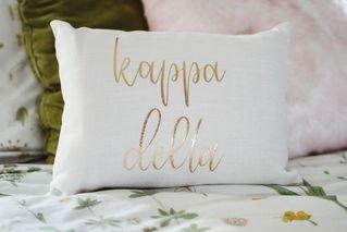 Kappa Delta Gold Imprint Throw Pillow