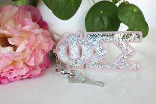 Phi Sigma Sigma Glitter Keychain