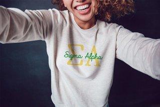 Sigma Alpha Greek Type Crewneck Sweatshirt