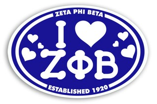 Zeta Phi Beta I Love Sorority Sticker - Oval
