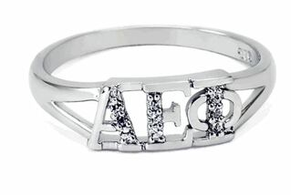 Alpha Epsilon Phi Sterling Silver Ring set with Lab-Created Diamonds