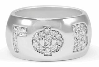 Gamma Phi Beta Sterling Silver Ring with Pave Cubic Zirconia Greek Letters