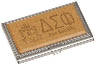 Delta Sigma Phi Crest Wood Business Card Holder