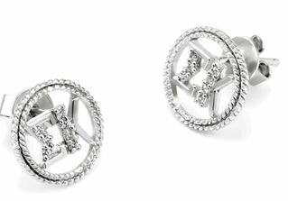Sigma Kappa Sterling Silver Circular Earrings set with Lab-Created Diamonds