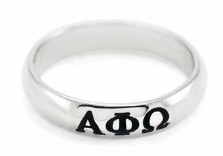 Alpha Phi Omega Sterling Silver Skinny-Band Ring