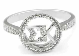 Sigma Kappa Sterling Silver Circular Ring set with Lab-Created Diamonds
