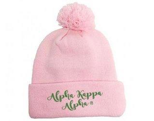 Alpha Kappa Alpha Knit Pom-Pom Beanie with Cuff