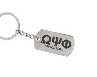 Omega Psi Phi Dog Tag Style Custom Keychain
