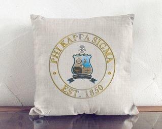 Phi Kappa Sigma Crest Linen Pillow